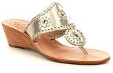 Jack Rogers Jacks Metallic Leather Whip Lace Slip-On Wedge Sandals