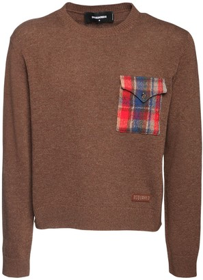DSQUARED2 Wool Knit Sweater W/Check Pocket