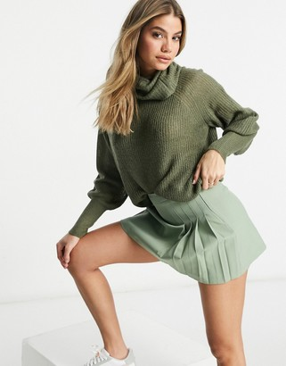Brave Soul harrito balloon sleeve jumper with roll neck in khaki