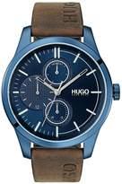 HUGO Hugo Discover Blue Multi Dial Brown Logo Embossed Leather Strap Mens Watch