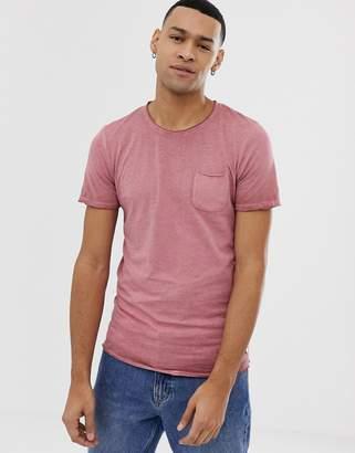 Jack and Jones Originals pocket t-shirt with raw edges-Red