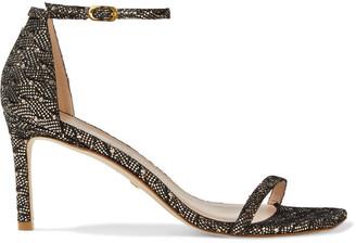 Stuart Weitzman Amelina Glittered Lace Sandals