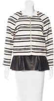 Thakoon Leather-Accented Collarless Jacket