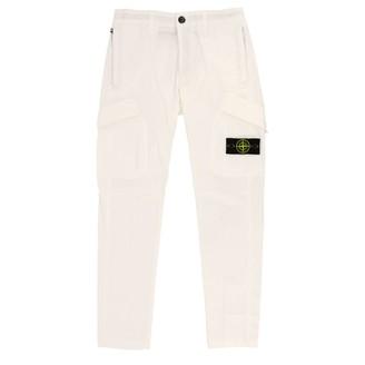 Stone Island Junior Kargo Trousers In Stretch Cotton Canvas