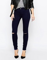 Vila Commit Skinny Jeans In Dark Blue