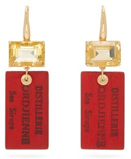 Francesca Villa Easy Living Citrine & 18kt Gold Drop Earrings - Red