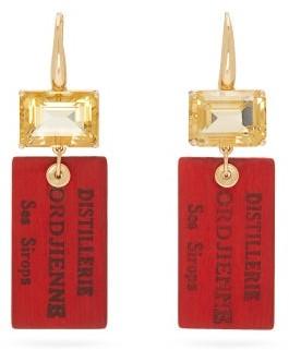Francesca Villa Easy Living Citrine & 18kt Gold Drop Earrings - Womens - Red