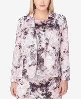 Tahari ASL Plus Size Printed One-Button Blazer