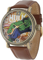 Marvel Vintage Hulk Mens Brown Leather Strap Watch