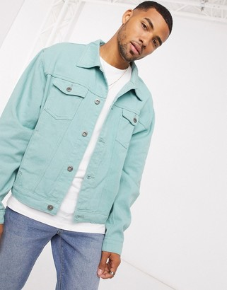 Liquor N Poker denim jacket in sage green