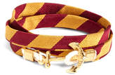 Brooks Brothers Kiel James Patrick Gold and Burgundy BB#4 Stripe Wrap Bracelet