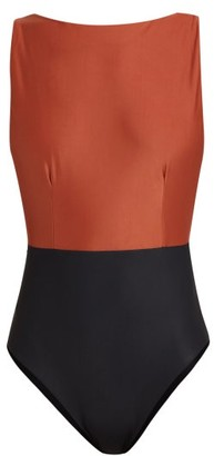 Haight Boat-neck Swimsuit - Womens - Black Brown