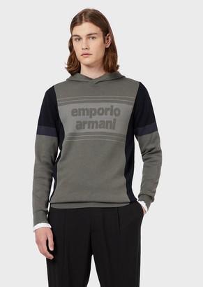 Emporio Armani Hooded, Colour-Blocked Sweater