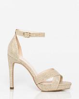 Le Château Glitter Mesh Open Toe Platform Sandal