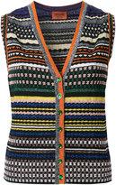 Missoni striped V-neck buttoned tank - women - Nylon/Polyester/Cupro/Viscose - 40