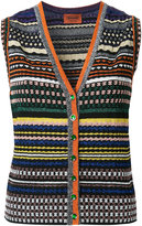 Missoni striped V-neck buttoned tank - women - Nylon/Polyester/Cupro/Viscose - 42