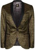 Topman NOOSE & MONKEY Gold and Black Rose Print Blazer