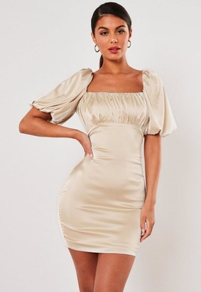 Missguided Champagne Satin Ruched Bust Mini Dress