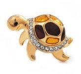 Avalaya Small Crystal Enamel 'Turtle' Brooch In Plated Metal