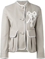 Fendi floral applique jacket - women - Cotton - 40