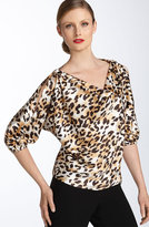St. John Collection Leopard Print Stretch Silk Blouse