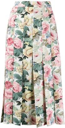 VIVETTA Rose Print Pleated Skirt