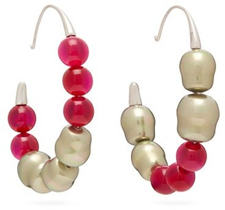 Peter Pilotto Beaded Hoop Earrings - Womens - Pink
