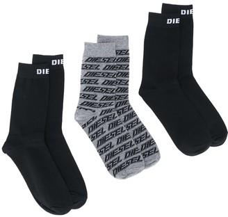 Diesel Three-Pack Logo Socks