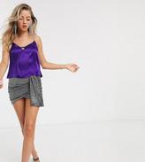 Bershka diamante strap cami in purple