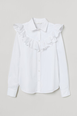 H&M Ruffled Cotton Blouse