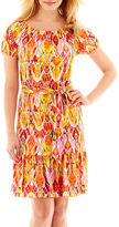 MSK Short-Sleeve Belted Peasant Fit-and-Flare Dress - Petite