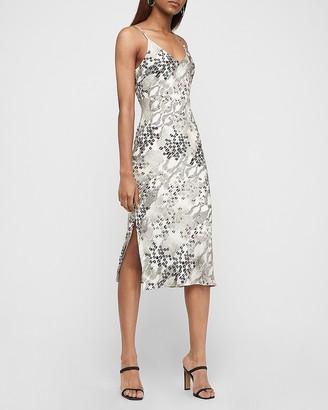 Express Satin Animal Print Midi Slip Dress