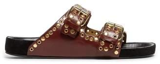 Isabel Marant Lennyo Double Strap Eyelet Leather Slides - Womens - Burgundy