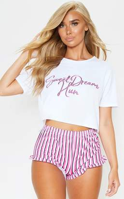PrettyLittleThing Hot Pink Sweet Dreams Hun Short Pj Set