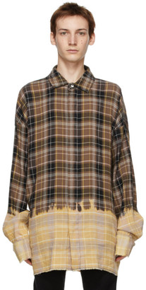 Palm Angels Brown Bleached Check Loose Overshirt