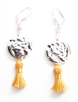 Marc Labat Ethnic Chic 12E79 Women's Earrings Silver-Plated Metal-Glass-Bead