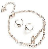 GUESS Gold-Tone Script Anklet and Toe Ring Set