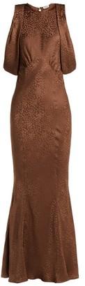 ATTICO The Cheetah-jacquard Silk Dress - Womens - Brown