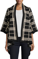 Neiman Marcus Plaid Open-Front Cardigan, Black/Plaid