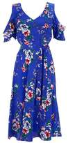 Wallis Blue Floral Cold Shoulder Fit and Flare Dress
