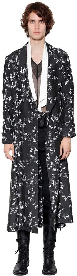 Ann Demeulemeester Extra Long Printed Viscose Kimono Coat
