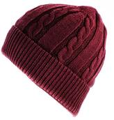 Black Burgundy Cable Knit Cashmere Beanie