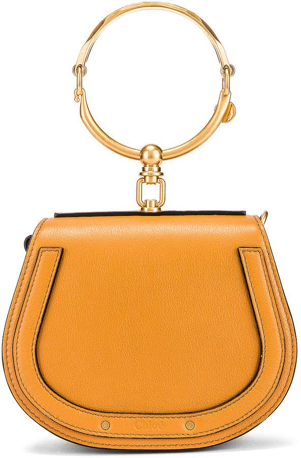 Chloé Small Nile Calfskin & Suede Bracelet Bag in Autumnal Brown | FWRD