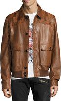 Just Cavalli Leather Patchwork-Yoke Blouson Jacket, Sand/Tan
