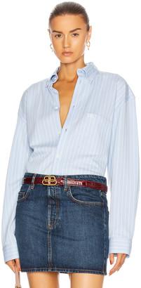 Balenciaga Long Sleeve Large Shirt in Sky Blue & White   FWRD