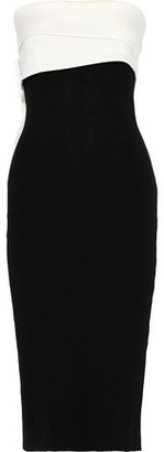 Sachin + Babi Lais Strapless Two-tone Twill-paneled Stretch-knit Dress