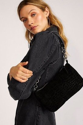 Fp Collection Alanna Suede Croc Baguette Bag