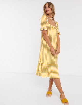 ASOS DESIGN square neck frill sleeve midi dress with pep hem in yellow stripe