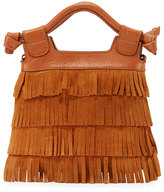Foley + Corinna Sasha Tiny City Suede Fringe Bag, Honey Brown
