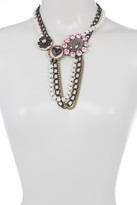 Betsey Johnson Wonderland Faux Pearl Charm Frontal Necklace